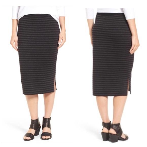 17050cb969 Eileen Fisher Skirts   Merino Wool Striped Pencil Skirt M   Poshmark